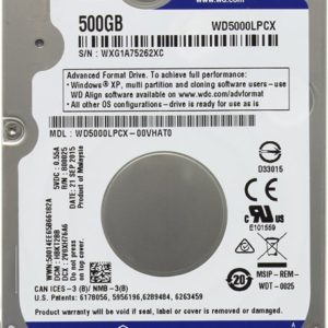 HDD 2.5″  500 GB SATA 16MB WD WD5000LPCX  5400rpm Blue