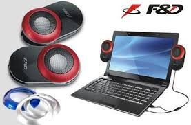 Speakers 2.0 F&D V560 Glossy Black, 2×1.2W, USB-power