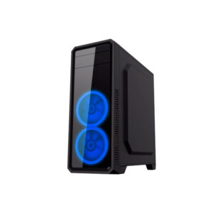 "Case ATX Gamemax G561 Black, Transparent side panel, 3 x 12cm Blue LED Ring-type Fans, USB3.0 ""59Plus chassis, 0.5mm Case in black,  Black Chassis inside"
