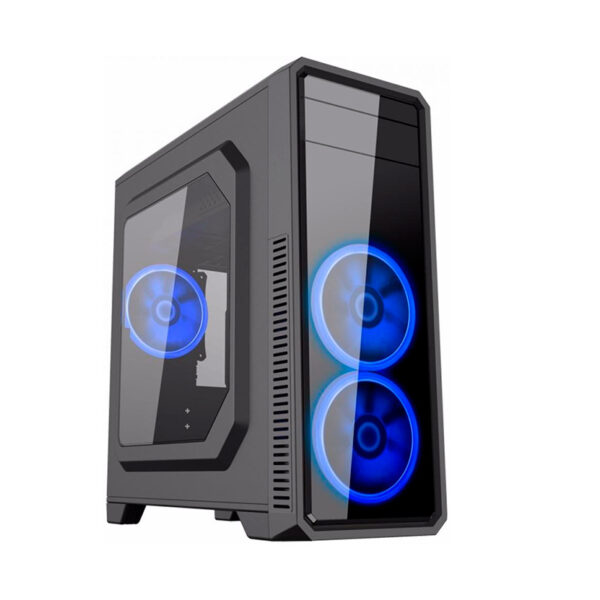 "Case ATX Gamemax G561-F Blue, Transparent side panel, 3 x 12cm 32xLeds Blue LED Fans, USB3.0 ""59Plus chassis, 0.5mm Case in black,  Black Chassis inside"
