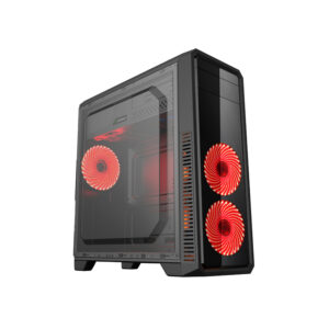 "Case ATX Gamemax G561-F Red, Transparent side panel, 3 x 12cm 32xLeds Red LED Fans, USB3.0 ""59Plus chassis, 0.5mm Case in black,  Black Chassis inside"