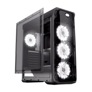 Case ATX Gamemax StarLight Black, Fan Controller, Blue Fans 0.5mm Case in black,  Black Chassis outside