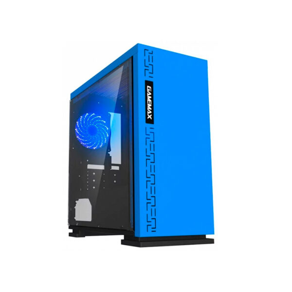 Case mATX GAMEMAX EXPEDITION H605-BL Blue, w/o PSU, Transparent Panel, Rear 12cm Blue LED fan 1066 chassis, 0.6mm Case in black,  Black Chassis inside
