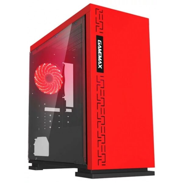 Case mATX GAMEMAX EXPEDITION H605-RD Red, w/o PSU, Transparent Panel, Rear 12cm Red LED fan 1066 chassis, 0.6mm Case in black,  Black Chassis inside