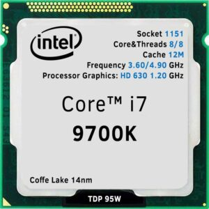 CPU Intel Core i7-9700K 3.6-4.9GHz (8C/8T,12MB,S1151,14nm, UHDGraphics 630, 95W) Tray