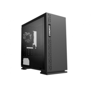 Case mATX GAMEMAX EXPEDITION H605-BK Black, w/o PSU, Transparent Panel, Rear 12cm Blue LED fan Black Chassis inside