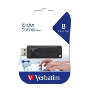 USB Flash Drive  8GB Verbatim Storen go Slider USB2.0 Black 98695