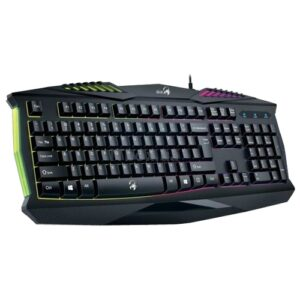Gaming Keyboard Genius SCORPION K220, 12 Fn Hotkeys, Spill-resistant, 7 color backlight, Black, USB , 2 million keystrokes, Soft hands-on texture – http://us.geniusnet.com/product/scorpion-k220