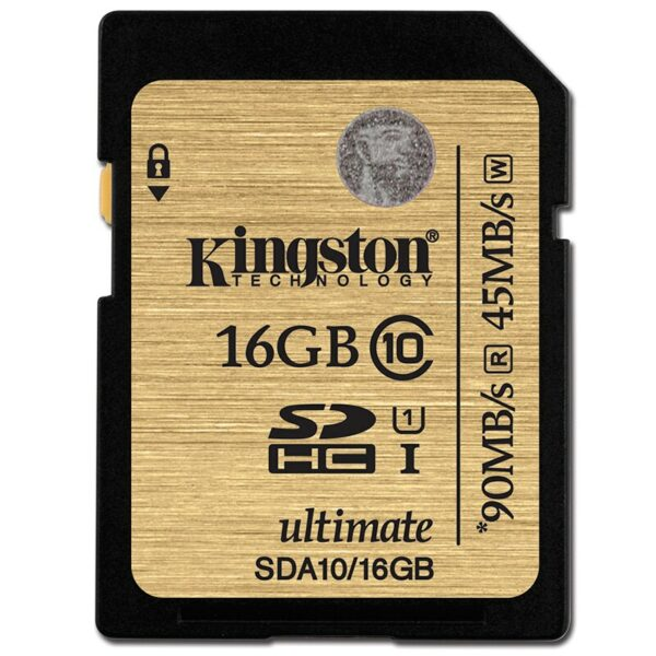 SD Card 16GB Kingston Ultimate C10 UHS-I 600x Up to: 90MB/s SDA10/16