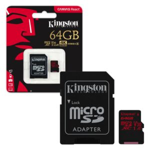 Micro SDHC Card 64GB Kingston Canvas React C10 SDCR/64GB