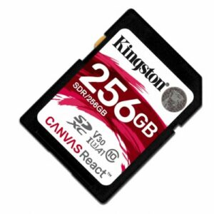 SD Card 256GB  Kingston Canvas React C10 UHS-I U3 (V30)  Ultimate 633x Read: 100Mb/s Write: 80Mb/s SDR/256GB