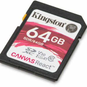 SD Card 64GB Kingston Canvas React Ultimate C10 UHS-I U3 (V30) 633x Read: 100Mb/s Write: 80Mb/s SDR/64GB