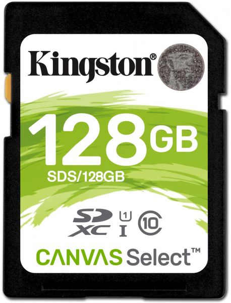 SD Card 128GB Kingston Canvas Select  C10 UHS-I 400x Up to: 80MB/s SDS/128GB