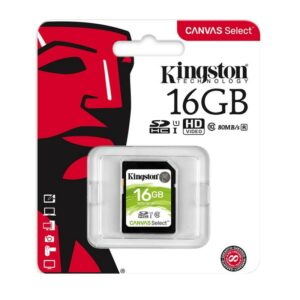 SD Card 16GB Kingston Canvas Select C10 UHS-I 400x Up to: 80MB/s SDS/16GB