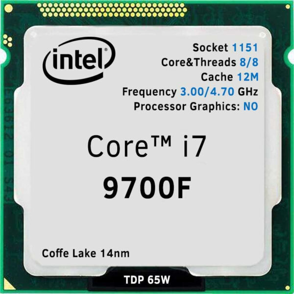 CPU Intel Core i7-9700F 3.0-4.7GHz (8C/8T, 12MB, S1151,14nm, No Integrated Graphics, 65W) Tray