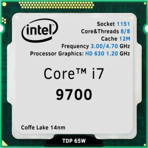CPU Intel Core i7-9700 3.0-4.7GHz (8C/8T, 12MB, S1151, 14nm, Integrated UHD Graphics 630, 65W) Tray