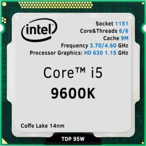 CPU Intel Core i5-9600K 3.7-4.6GHz (6C/6T,9MB, S1151, 14nm, Integrated UHD Graphics 630, 95W) Tray